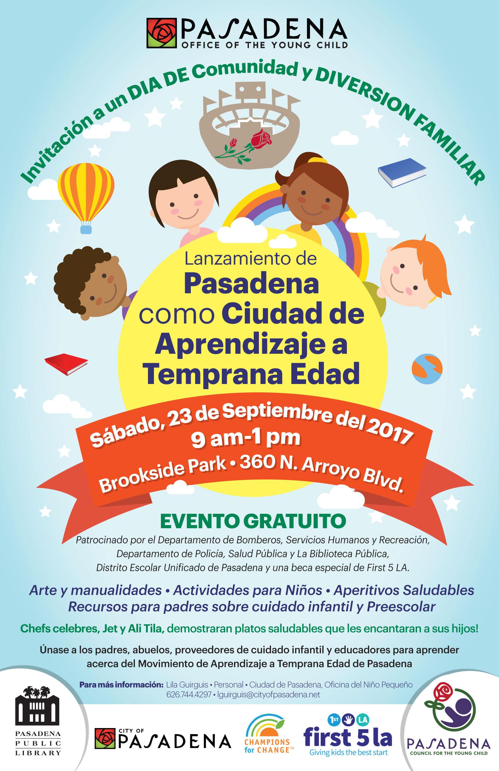 Lanzamiento de Pasadena como ciudad de aprendizaje a tempra edad, 23 Septiembre 2017