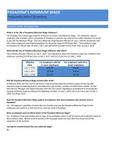 Minimum Wage FAQ