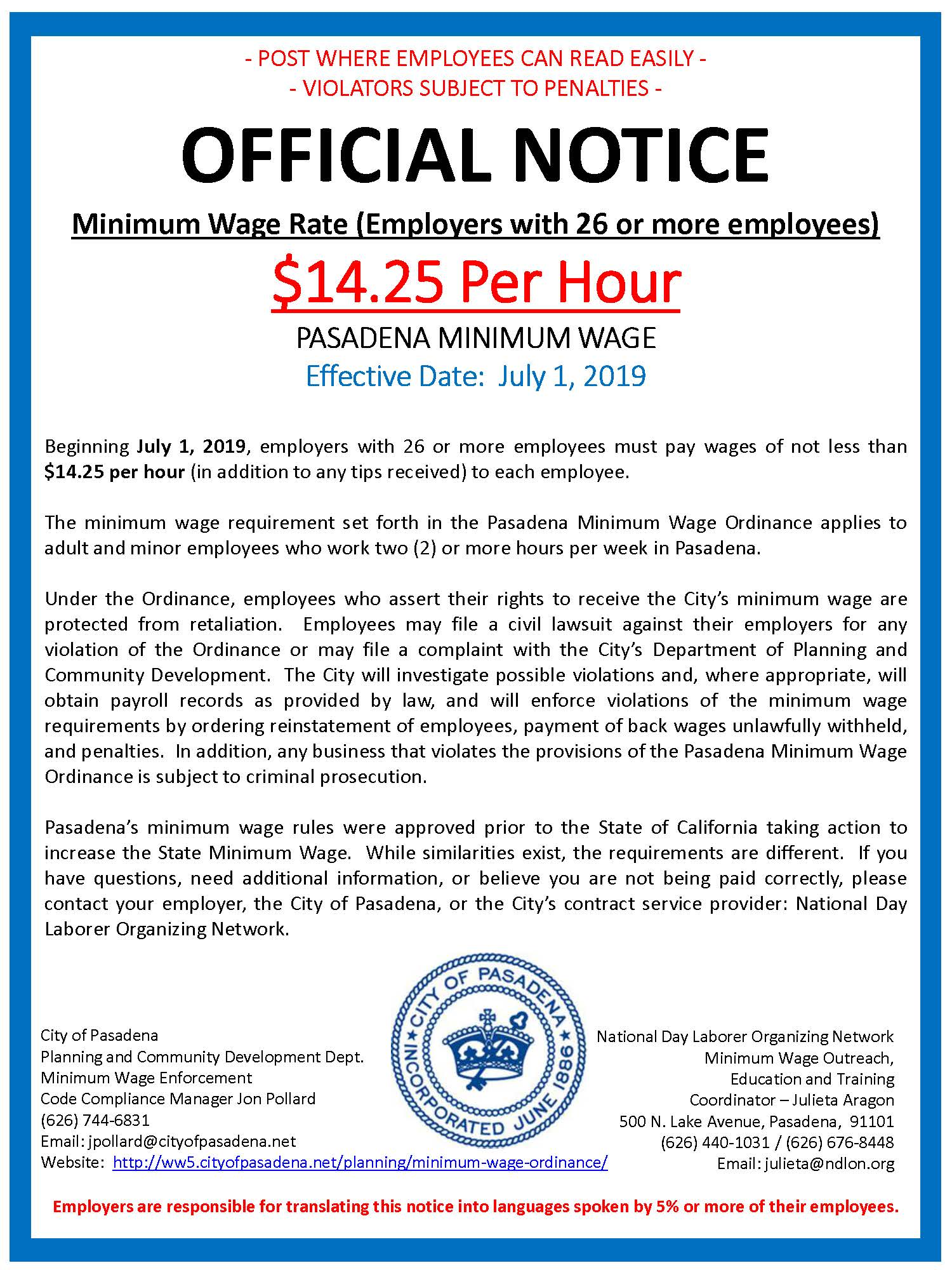 Minimum Wage Information - Planning & Community Development