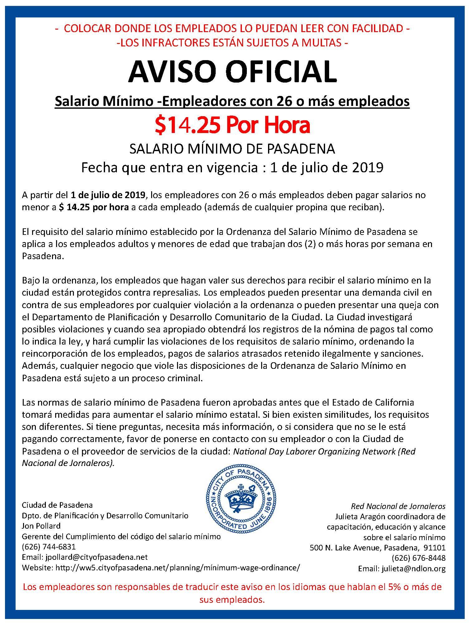 Minimum Wage Information - Planning & Community Development