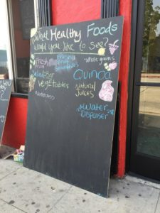 Healthy Foods chalkboard sign