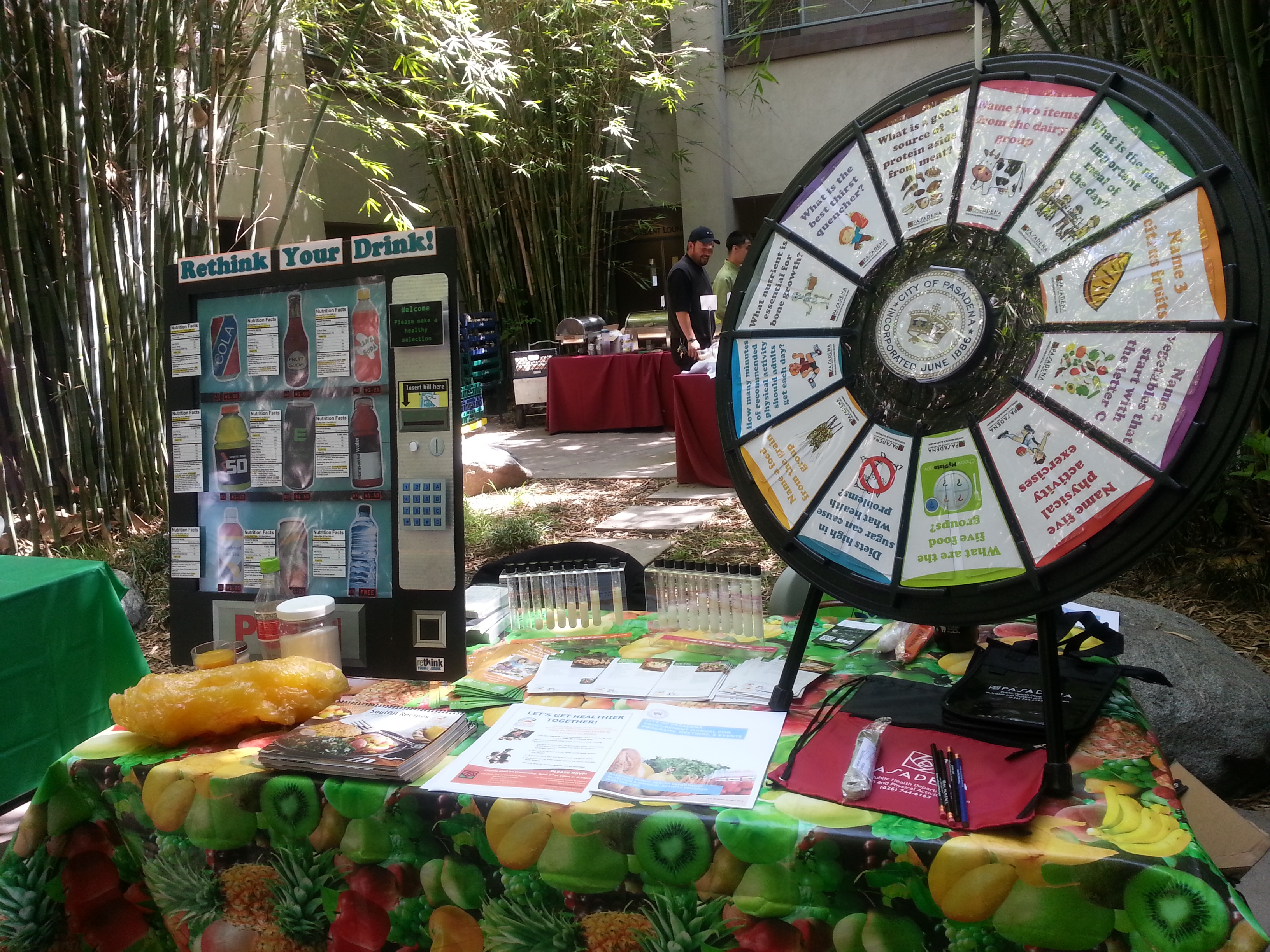 Rethink your drink and factoid wheel display table