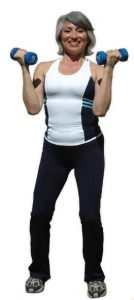 image of woman working out with dumbbells