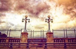 fense with two lights on a cloudy day