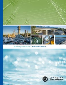 cover of 2016 Annual Report Photo with images of pasadena bridge and solar panels
