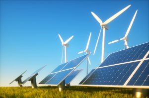 3d render image of grass field with photovoltaic and wind power plants