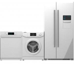 white home appliance washer, refrigerator and dishwasher