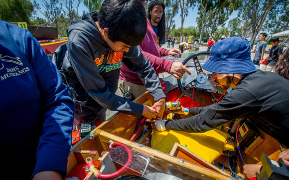 Students of John Muir High School, sponsored by The Pasadena Water & Power, participate in the 2016 Solar Cup, solar boat races by the Metropolitan Water District at Lake Skinner in Riverside County, May 15, 2016. (Eric Reed/Pasadena Water & Power