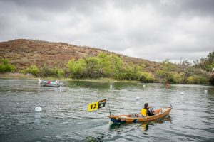Students of John Muir High School, sponsored by The Pasadena Water & Power, participate in the 2016 Solar Cup, solar boat races by the Metropolitan Water District at Lake Skinner in Riverside County, May 15, 2016. (Eric Reed/Pasadena Water & Power)