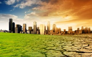Landscape, city, green ground fading into dry land, sunrise, city,