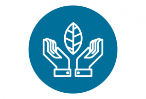 Blue hands with leaf icon