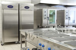 Empty restaurant kitchen with professional food equipment