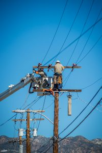 power lines fixed by utility workers
