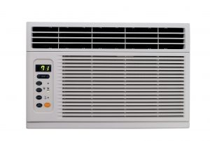 Horizontal photo of a room air conditioner on a white background