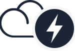 An icon of a cloud and lightning bolt